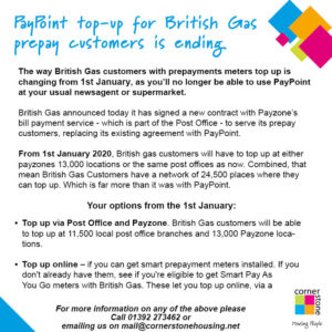 Attention British Gas Customers With Prepay Meters Cornerstone Housing